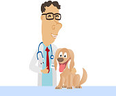 Cartoon Medical Man on white coat with dog. Vector illustration
