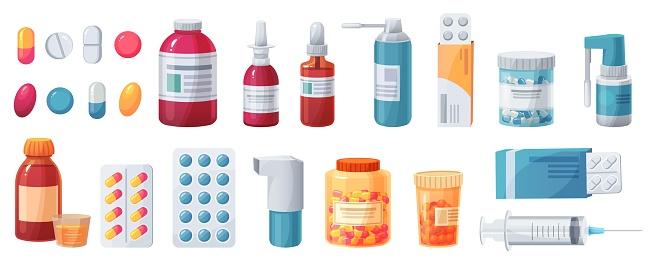 Cartoon medications. Medical drugs, tablets, capsules and prescription bottles. Blisters, syringe and painkiller drug vector pharmacy set