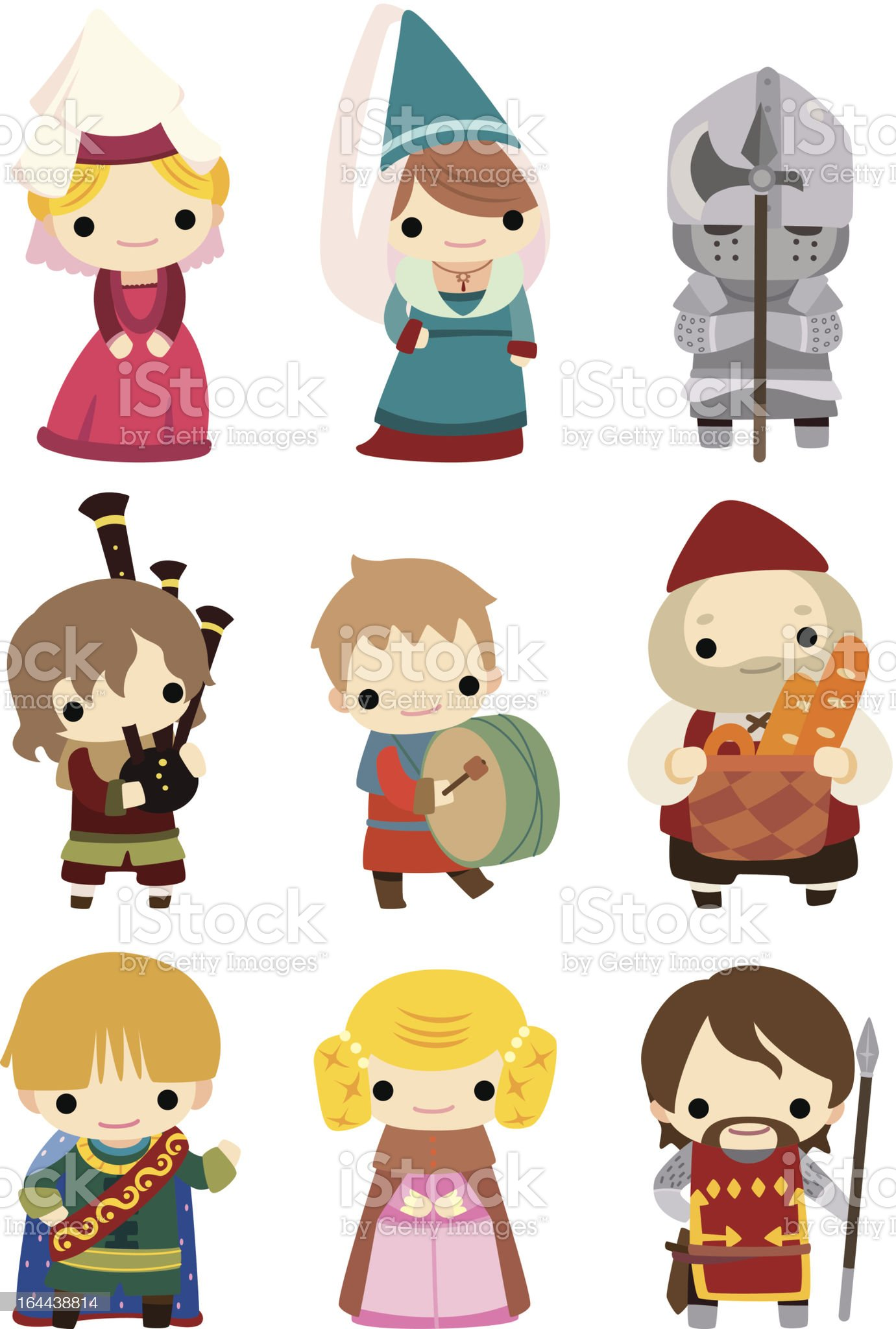 cartoon medieval people icon set royalty-free cartoon medieval people icon set stock vector art & more images of medieval