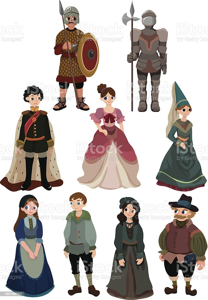 cartoon Medieval people icon vector art illustration