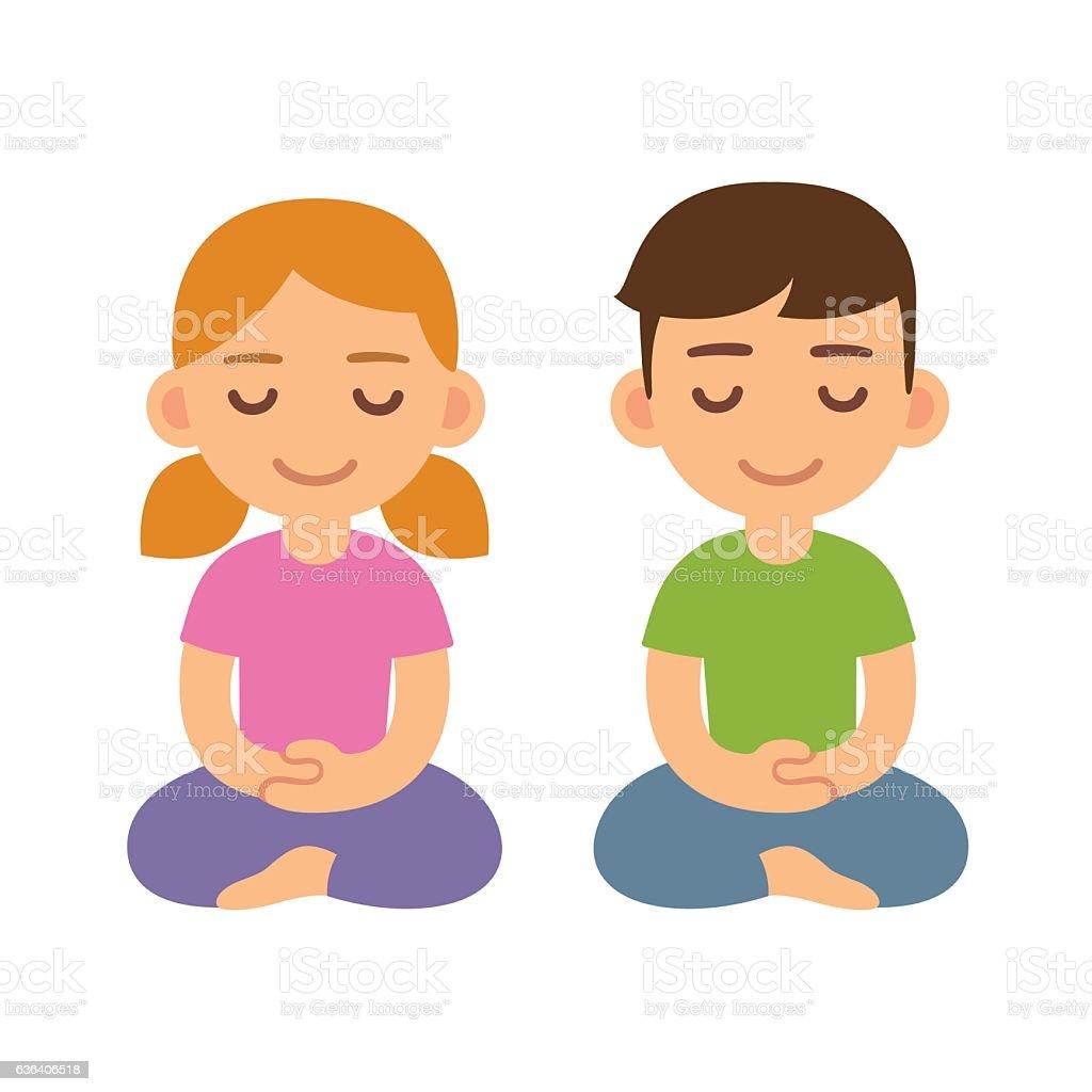 Cartoon meditating children – Vektorgrafik
