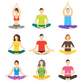 Cartoon Meditation Character People Signs Icon Set Meditating Concept Flat Design. Vector illustration of Zen or Calm Practice Person Icons