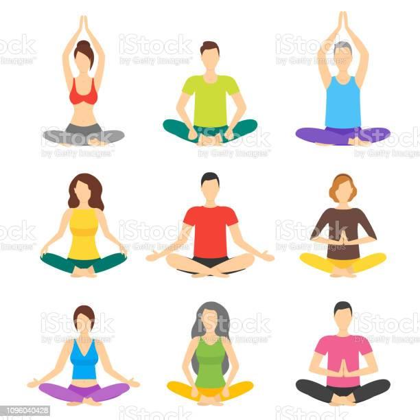 Cartoon Meditatie Mensen Tekenen Icon Set Vector Stockvectorkunst en meer beelden van Applicatie