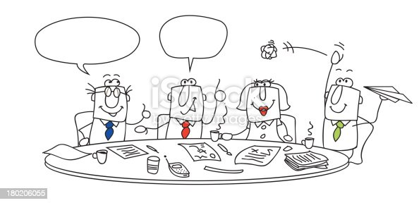 Cartoon Meeting With Empty Bubbles For Words Stock Vector