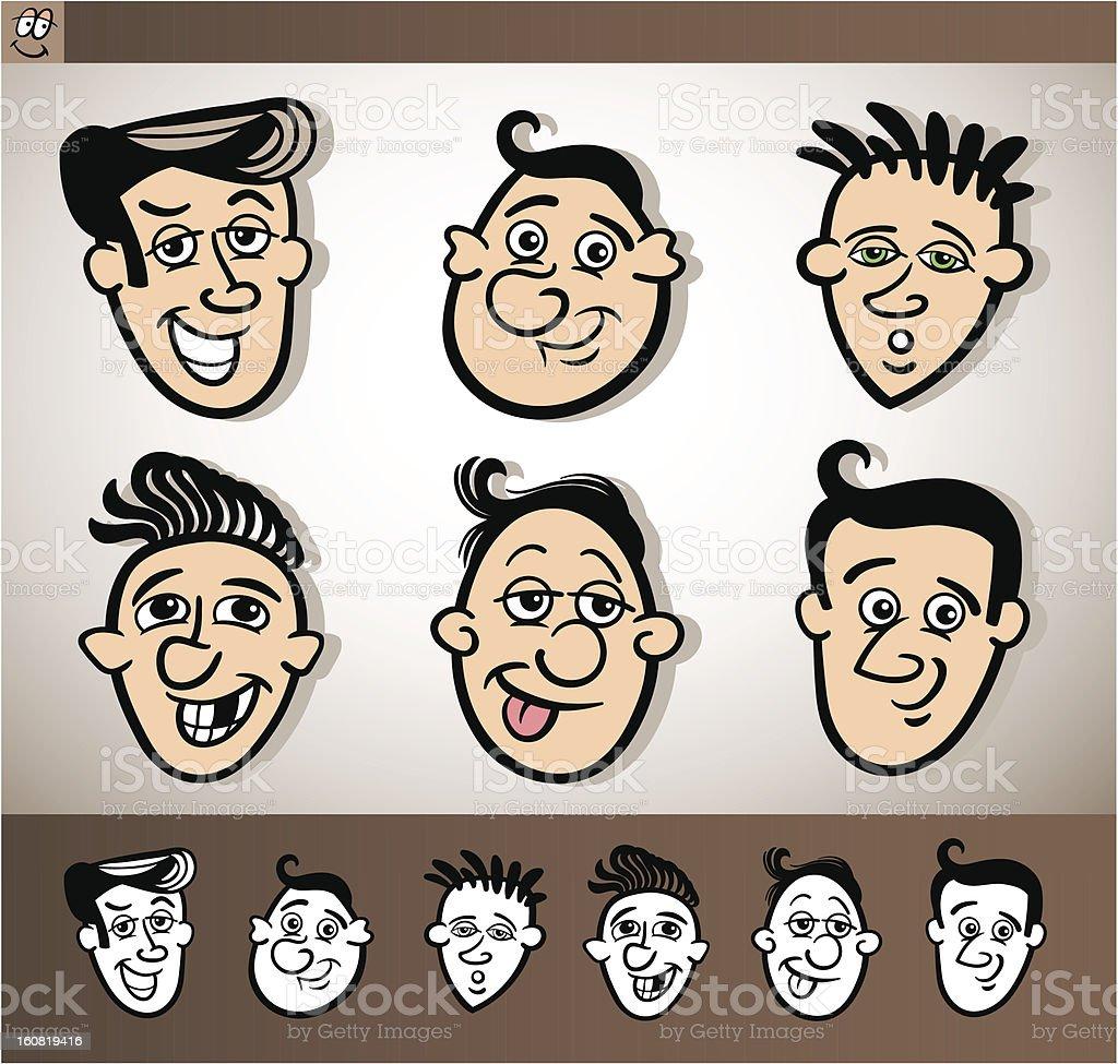 cartoon men heads set illustration royalty-free stock vector art