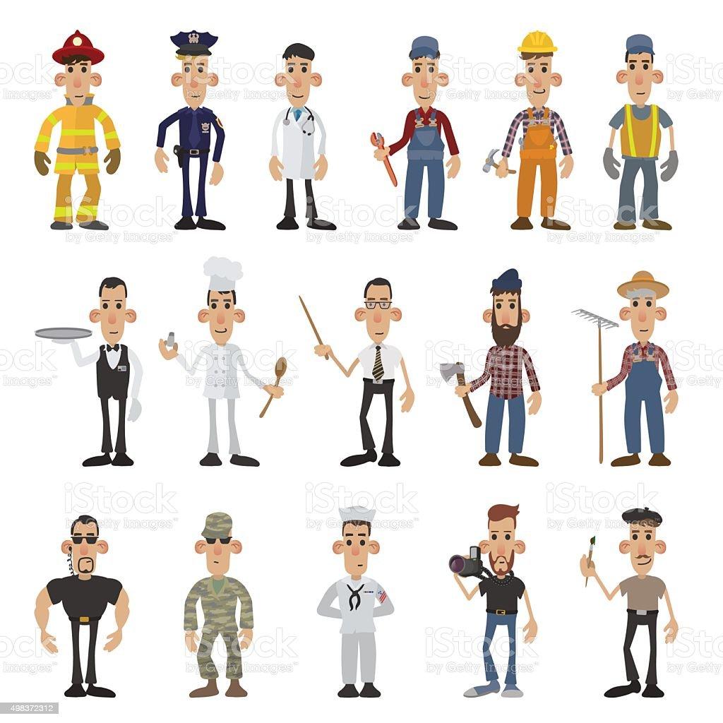 Cartoon men of 16 different professions vector art illustration