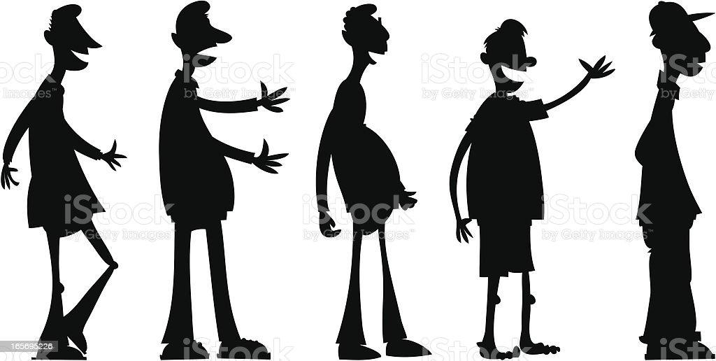Cartoon Men Silhouettes royalty-free stock vector art