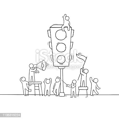 Cartoon men with traffic light. Doodle scene about road safety. Hand drawn vector illustration for warning design.