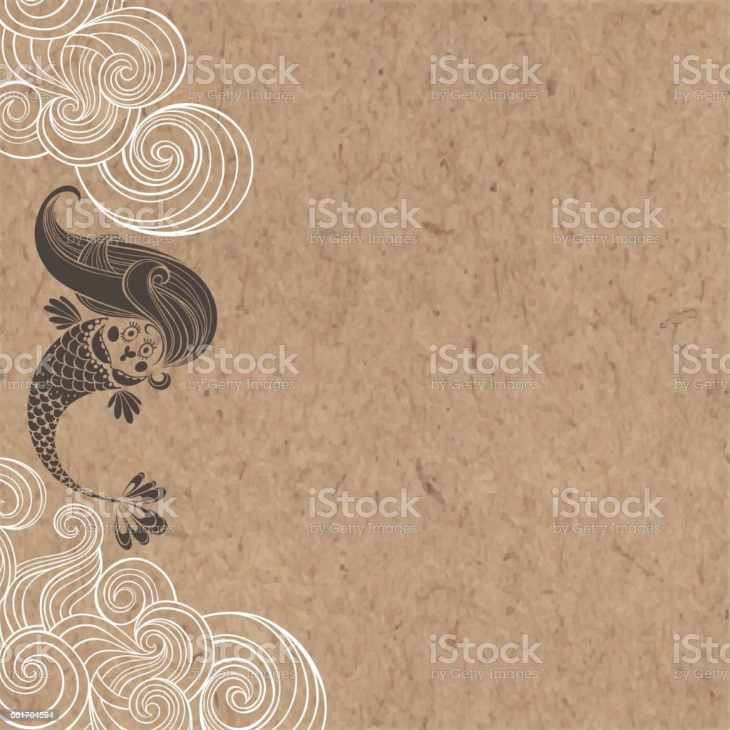 Cartoon mermaid and waves on a kraft paper. Marine vector  illustration. vector art illustration