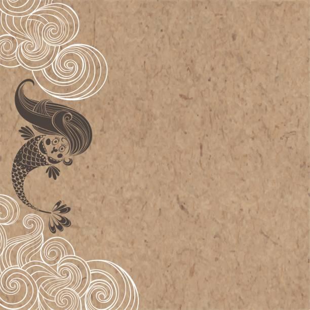 Cartoon mermaid and waves on a kraft paper. Marine vector  illustration. vector art illustration