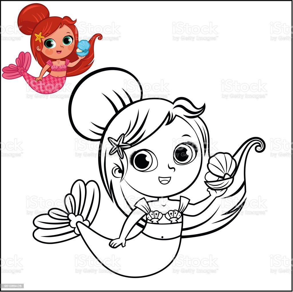 Ilustración de Personaje De Dibujos Animados Sirena Para Colorear ...