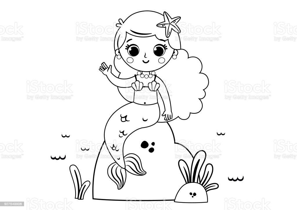 Ilustración de Sirena De Dibujos Animados Para Colorear Página De ...