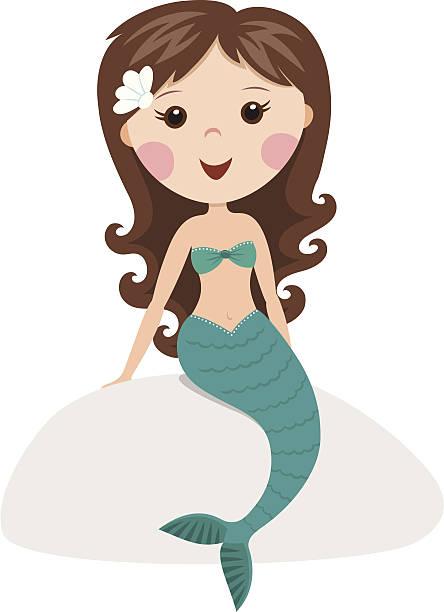 Cartoon mermaid sitting on a rock vector art illustration