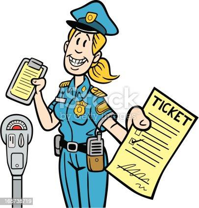 istock Cartoon Meter Maid Handing Ticket 165738719