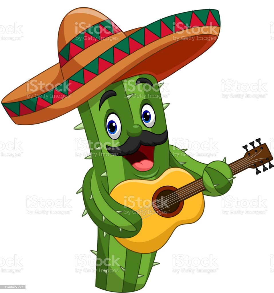 Cartoon Mexican Cactus Playing Guitar Stock Illustration - Download
