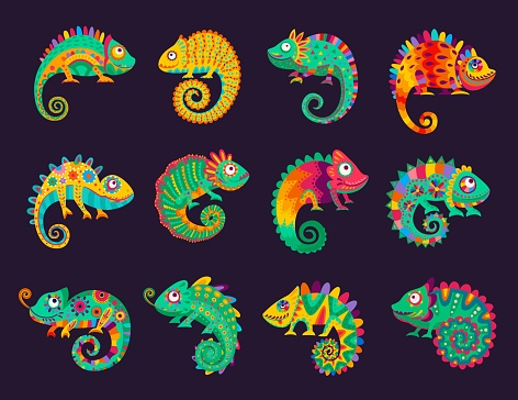 Cartoon mexican chameleons, vector lizards set