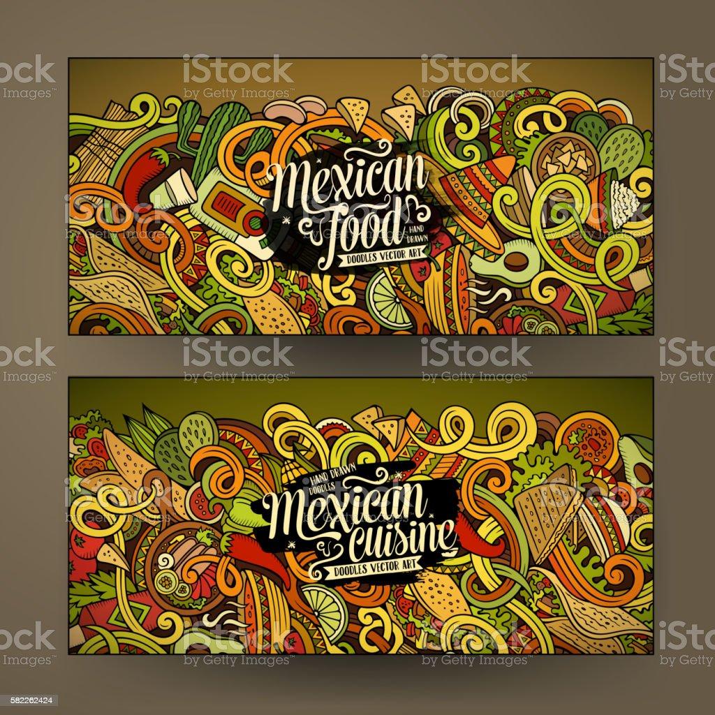 Cartoon mexican food doodles banners - ilustración de arte vectorial