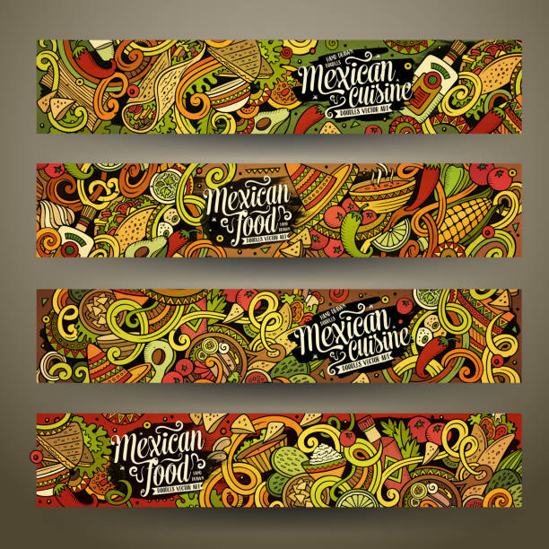 cartoon mexican food doodles banners - mexican food stock illustrations, clip art, cartoons, & icons