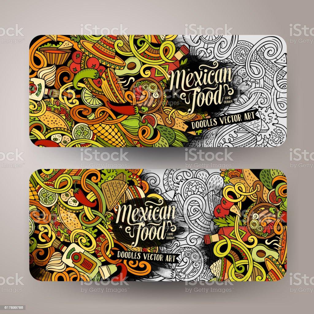 Cartoon mexican food doodles banners vector art illustration