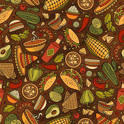 Cartoon Mexican food seamless pattern