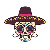 cartoon Mexican skull