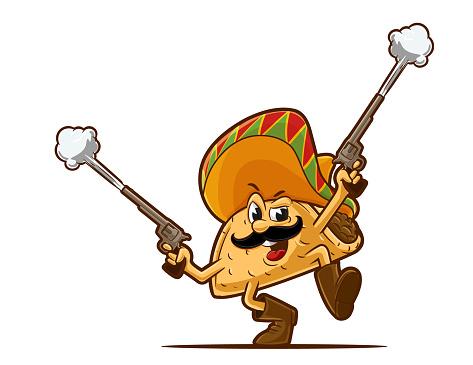 cartoon mexican taco with guns