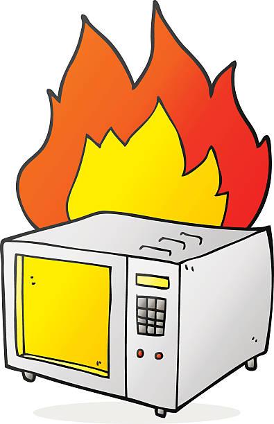 cartoon microwave on fire vector art illustration