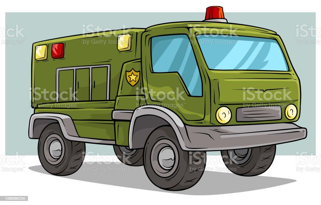 Cartoon Military Army Big Cargo Truck Stock Illustration ...