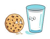 Cartoon milk and cookie. Vector illustration.