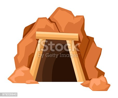 Cartoon mine entrance. Retro tunnel. Old mine in desert. Flat vector illustration isolated on white background.