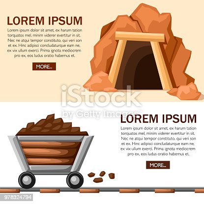 Cartoon mine entrance with full mine cart on railway. Retro tunnel. Old mine in desert. Mining industry concept. Flat vector illustration on white and beige background. Web site page and app design.