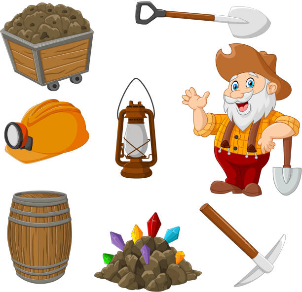 bildbanksillustrationer, clip art samt tecknat material och ikoner med cartoon miner verktyg collection set - miner