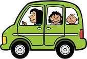Great illustration of a cartoon mini van with a family. Perfect for a transportation or family illustration. EPS and JPEG files included. Be sure to view my other illustrations, thanks!