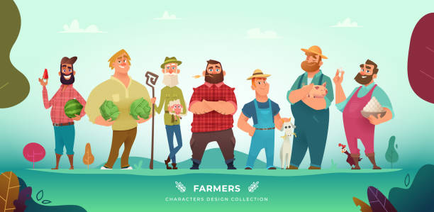 Cartoon modern collection of funny different farmers characters. Cartoon modern collection of funny different farmers characters farmer stock illustrations