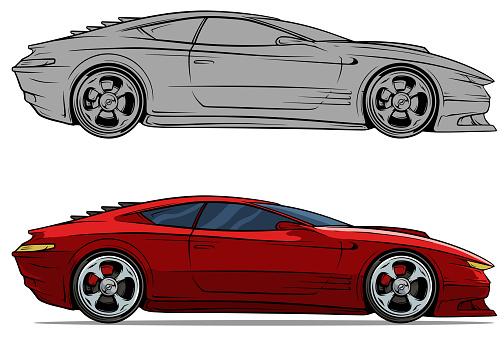 Cartoon Modern Red Sport Racing Car Set Stock Illustration