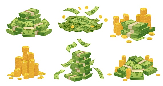 Cartoon money and coins. Green dollar banknotes pile, golden coin and rich vector illustration set