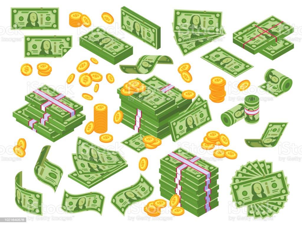 Ilustración De Dibujos Animados De Dinero Dólares Billetes Billetes