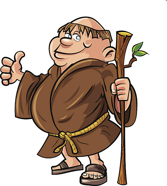 Cartoon monk holding a stick. Isolated on white Cartoon monk holding a stick. Isolated on white friar stock illustrations