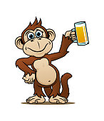 Cartoon smiling monkey character with glass of beer