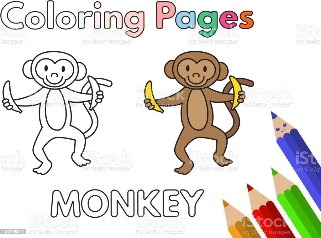 Ilustración de Libro De Colorear De Mono De Dibujos Animados y más ...