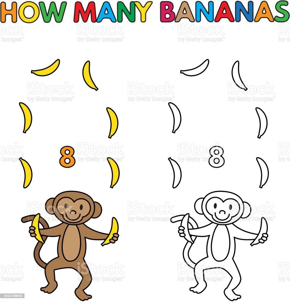 Karikatür Maymun Boyama Kitabı Muz Sayma Stok Vektör Sanatı