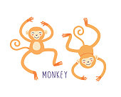 istock Cartoon monkey for print design. Isolated vector illustrations on white background. 1270659272