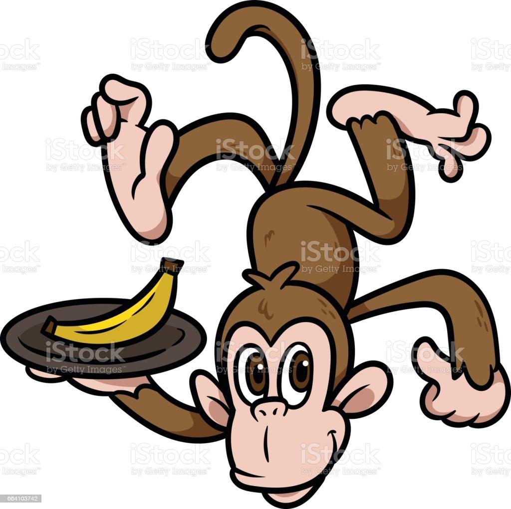 Cartoon Monkey Holding a Plate of Banana Vector Illustration – Vektorgrafik