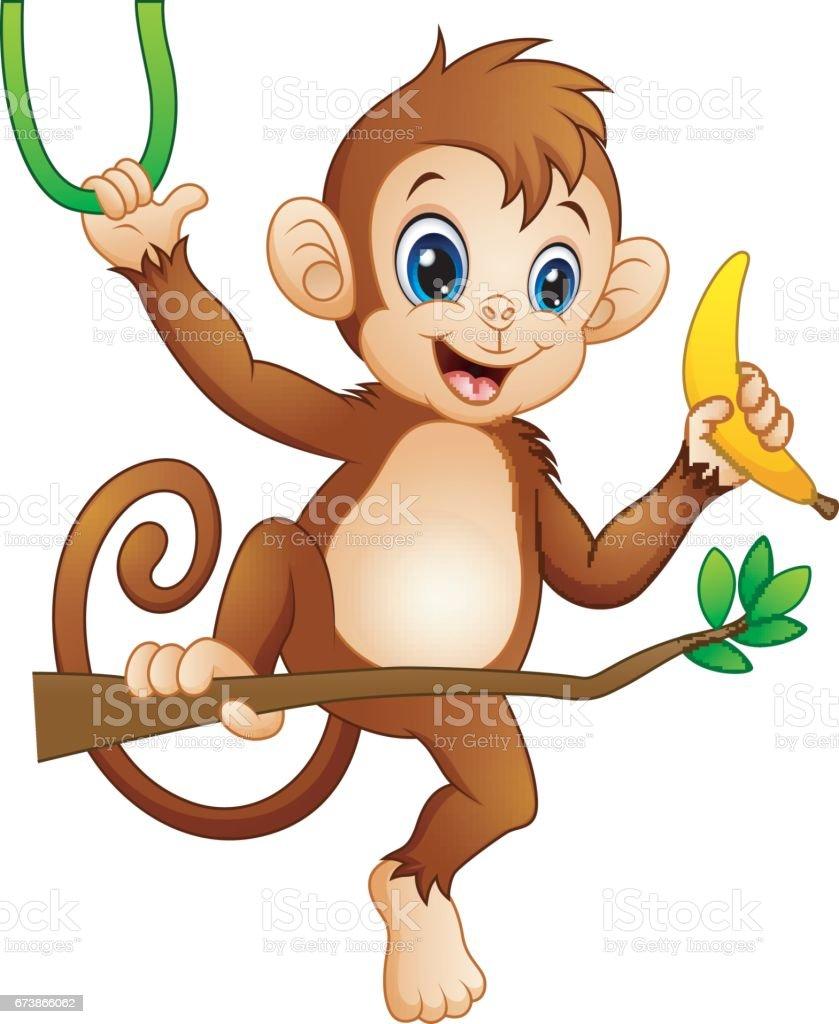 Cartoon-Affe auf einem Ast Baum und Holding-Banane – Vektorgrafik