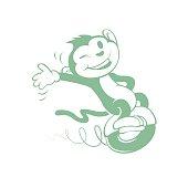 Cartoon monkey on wheel