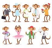 Cartoon monkey people character vector.