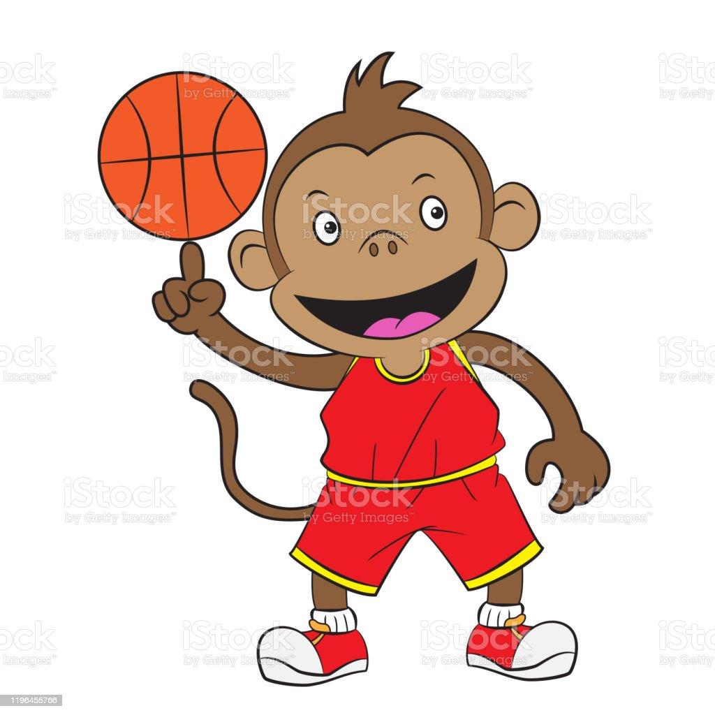 Cartoon Monkey Playing Basketball Stock Illustration Download Image Now Istock
