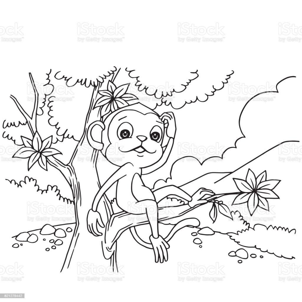 Ilustración de Mono De Dibujos Animados Jugando En El Bosque Para ...