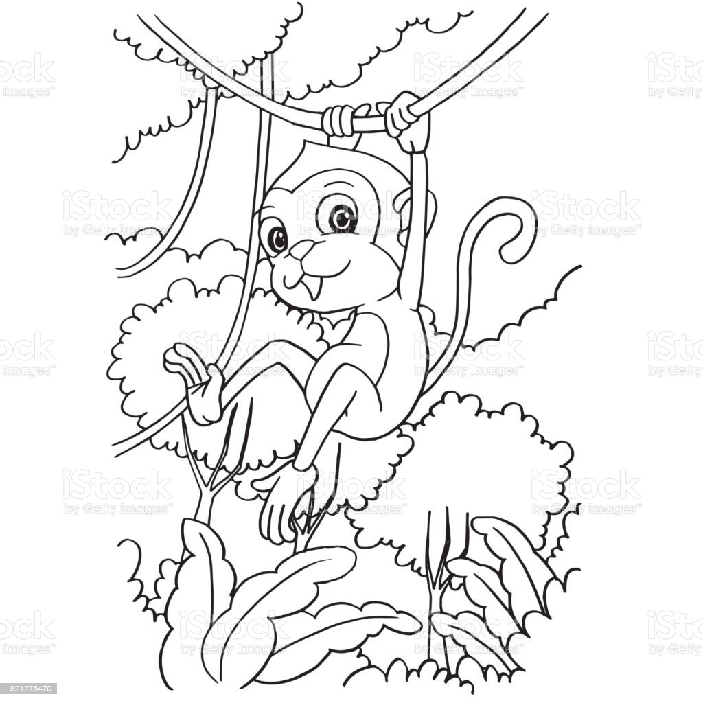 Cartoon Monkey Playing In The Forest Coloring Page Vector Stock ...