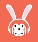 Cartoon monkey wearing a  Rabbit's headset, , enjoy the music,vector